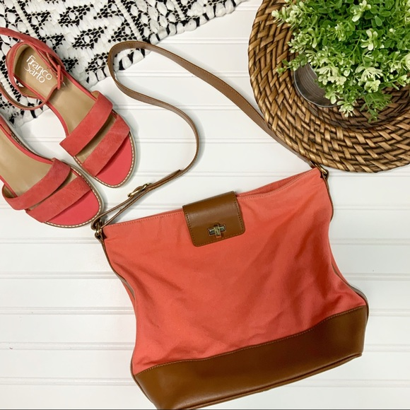 TALBOTS Pink Mellon Canvas & Brown Leather Purse